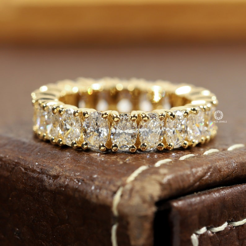 Oval Full Eternity Diamond Ring 14KT Yellow Gold Diamond image 0