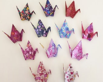 Japanese Wish Crane for Good Luck-Thinking of you gift-Good Luck Charm-Room Decoration-Hanging Origami Decor-Birthday Gift