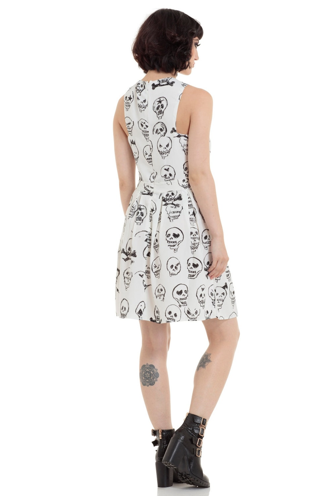 Black White Cut Out Skull Doodle White Mini Dress Gothic