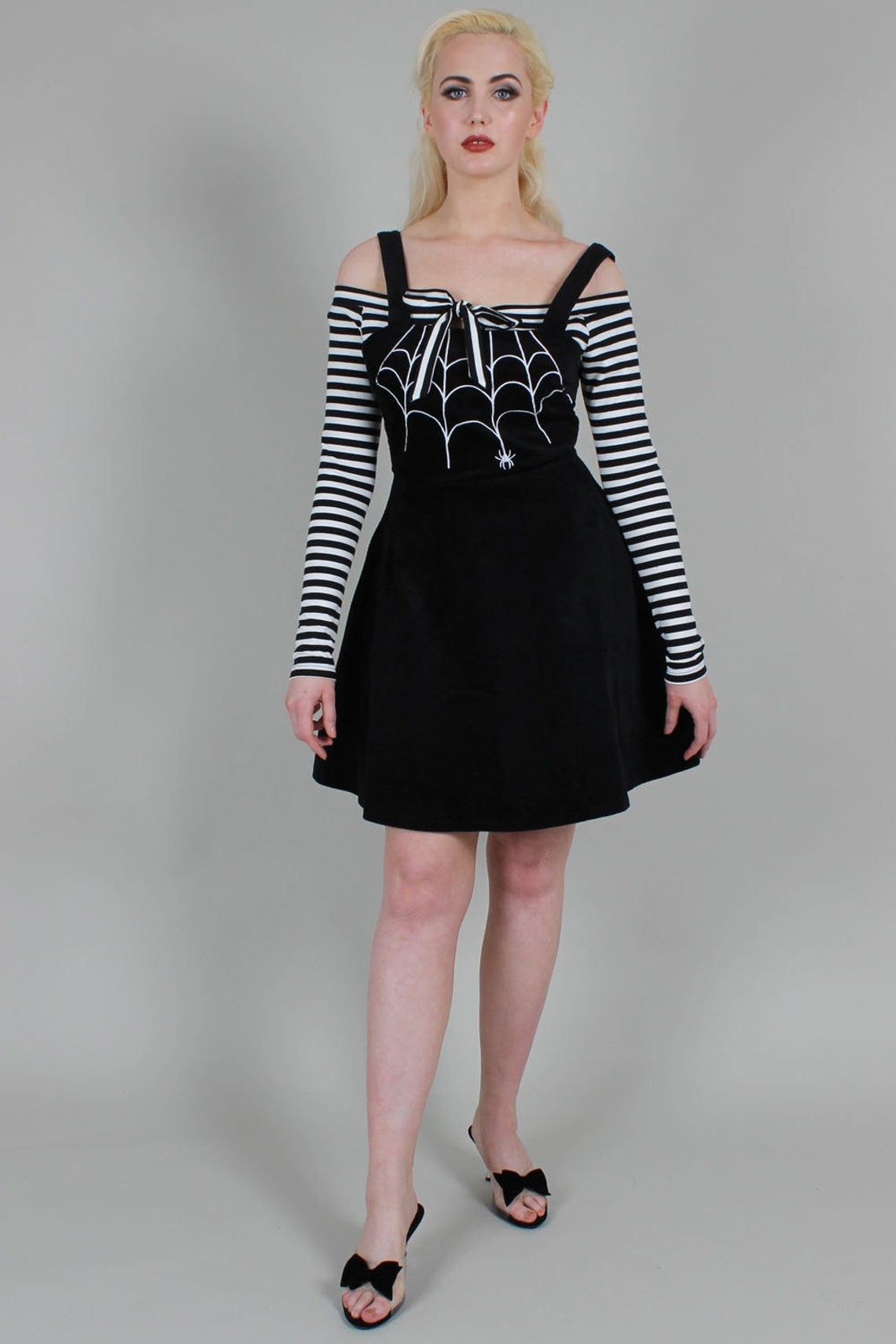 Gothic Spider Web Skater Overall Corduroy Dress Black White