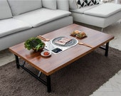 Home BBQ table folding table, Korean BBQ table, Indoor barbecue table, Table for 2 to 6, With Round Meat Fire Plates.(Low Table)