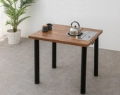 Home BBQ table Round legs, Korean BBQ table, Indoor Barbecue table, Mini meat grill table for one or two people