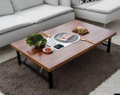Home BBQ table folding table, Korean BBQ table, Indoor barbecue table, Table for 4 to 6, With Round Meat Fire Plates.(Low Table)