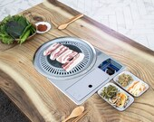 Home BBQ table folding table, Korean BBQ table, Indoor barbecue table, Table for 4 to 6, With Round Meat Fire Plates.(Table for chairs)