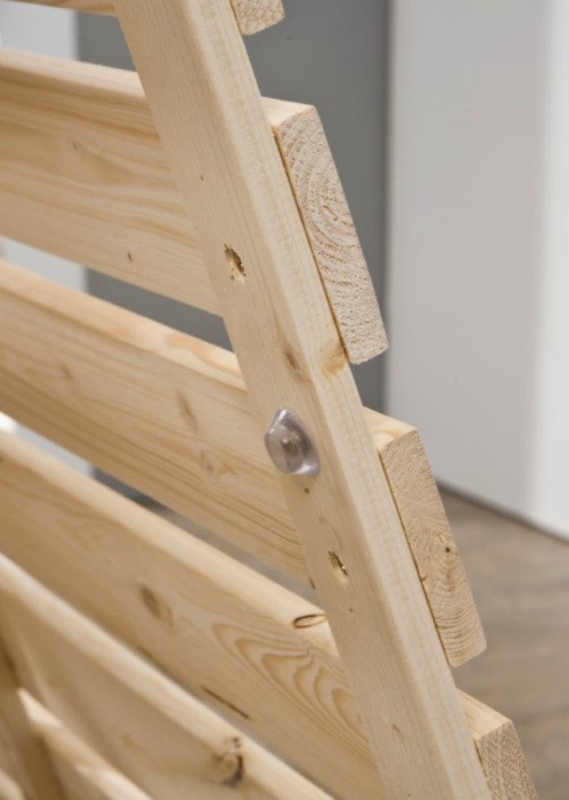 Premium Nordic cedar log Low Bed Mattress Slat _ Natural Brown