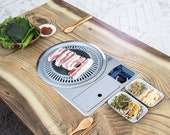 Large size) Home BBQ table folding table, Korean BBQ table, Table for 4 to 6, With Round Meat Fire Plates.(Table for chairs)