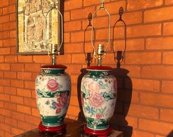 Vintage Lamps - Set of 2 Vintage Lamps - Vintage Beige Lamps - Vintage Lamps with Flowers - Chinoiserie Lamps - Set of 2 Chinoiserie Lamps