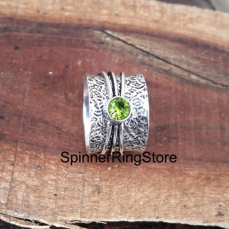 Statement Ring Spinner Ring Women Ring Boho Ring Handmade Ring Gift For Her Worry Ring Anxiety Ring Peridot Ring Thumb Ring