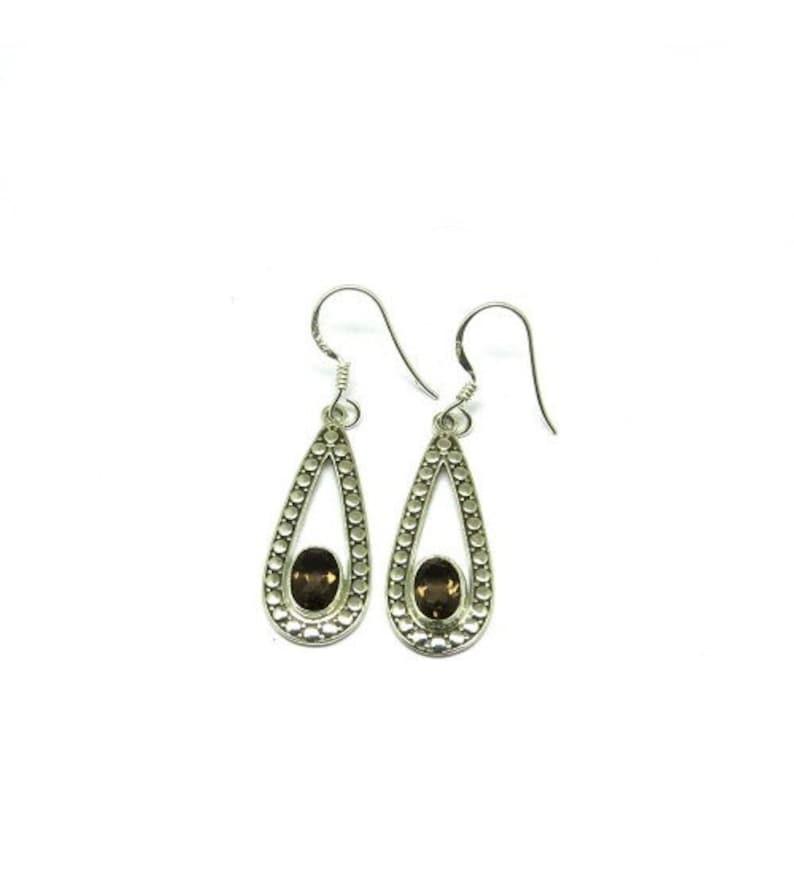 Bohemian Earring Handmade Earring Women Earring 925 Silver Earring Statement Earring Smoky Quartz Earring Gemstone Earring