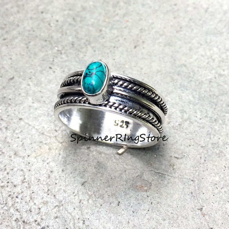 Spinner Ring Thumb Ring Promise Ring Women Ring Boho Ring Turquoise Ring Anxiety Ring Gift For Her Worry Ring Meditation Ring