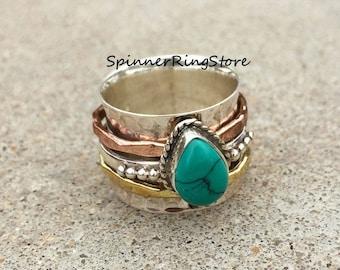 Turquoise Ring, Sterling Silver, Spinner Ring, Handmade Ring, Fidget Ring, Boho Ring, Wide Band Ring, Custom Ring, Promise Ring, Women Ring
