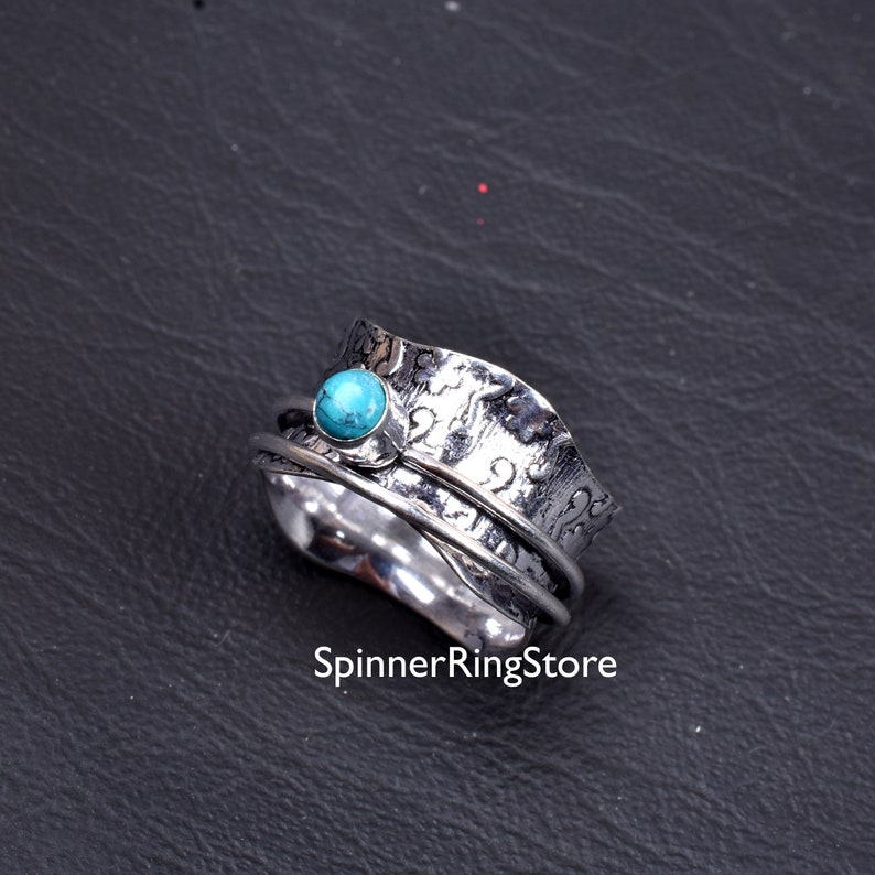 Turquoise Ring Meditation Ring Gift For Her Fidget Ring Thumb Ring Anxiety Ring Promise Ring Worry Ring Spinner Ring Women Ring