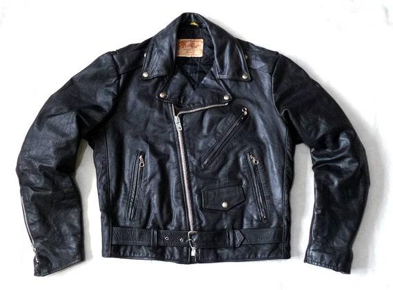 Vintage Black Denim Moto Jacket Corozo 50s British Military XS S M L