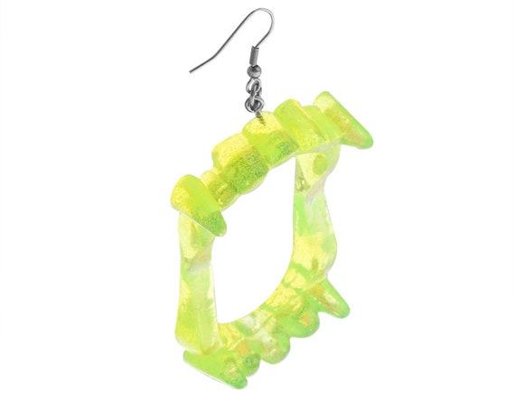 Slime Green Vampire Fang Earrings