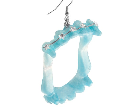 Light Blue Vampire Fang Earrings w/ Braces