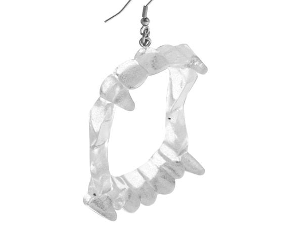 Clear Vampire Fang Earrings