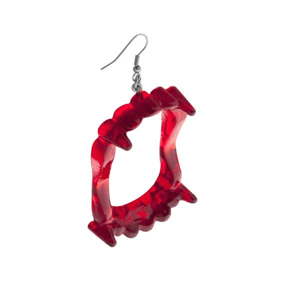 Ruby Red Vampire Fang Earrings