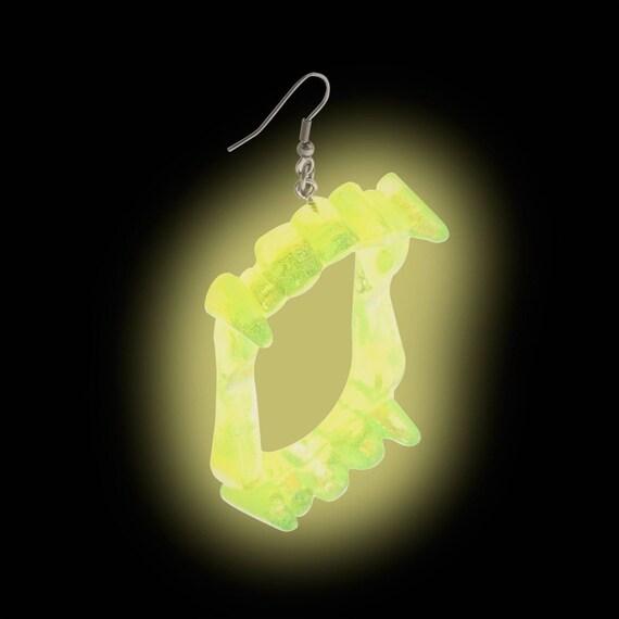 Glow-in-the-Dark Vampire Fang Earrings