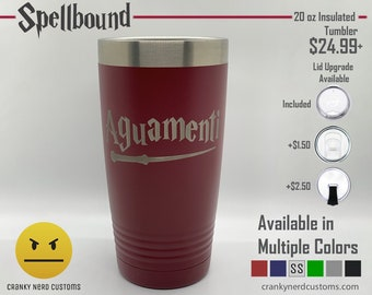 Aguamenti Harry Potter Spell Laser Engraved Insulated Tumbler / Travel Mug – Geek Holiday or Christmas Gift – for Dad, Husband, Mom