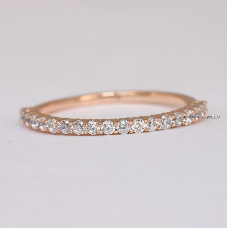 Women/'s Wedding Ring Half Eternity Stacking Band Matching Band for Wedding Ring Ring With Certificate Round Natural Diamond Band