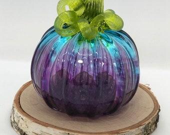 2020 signature Blown Glass Pumpkin Transparent Blue and Purple Color Melt Pumpkin with olive green stem Tacoma Glassblowing Studio TGS