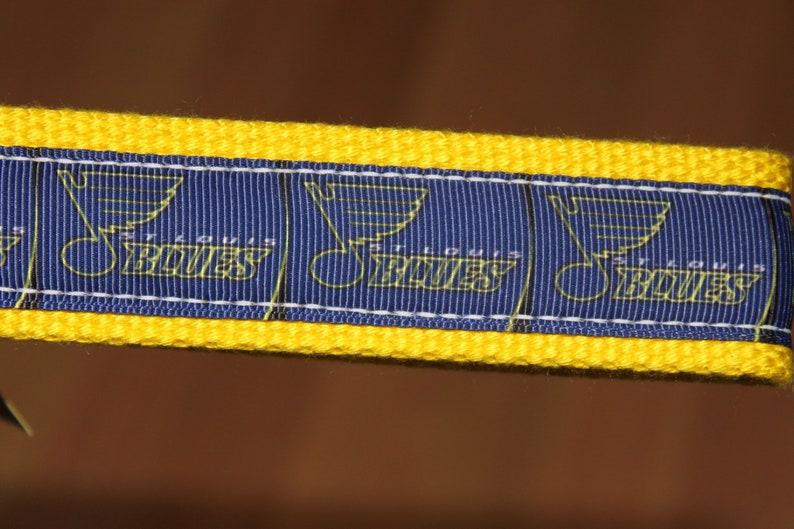 Blue Note Grosgrain Ribbon Yellow Cotton Webbing with Silver Hardware St Key Wristlet Louis Blues SHORTIE Key Fob