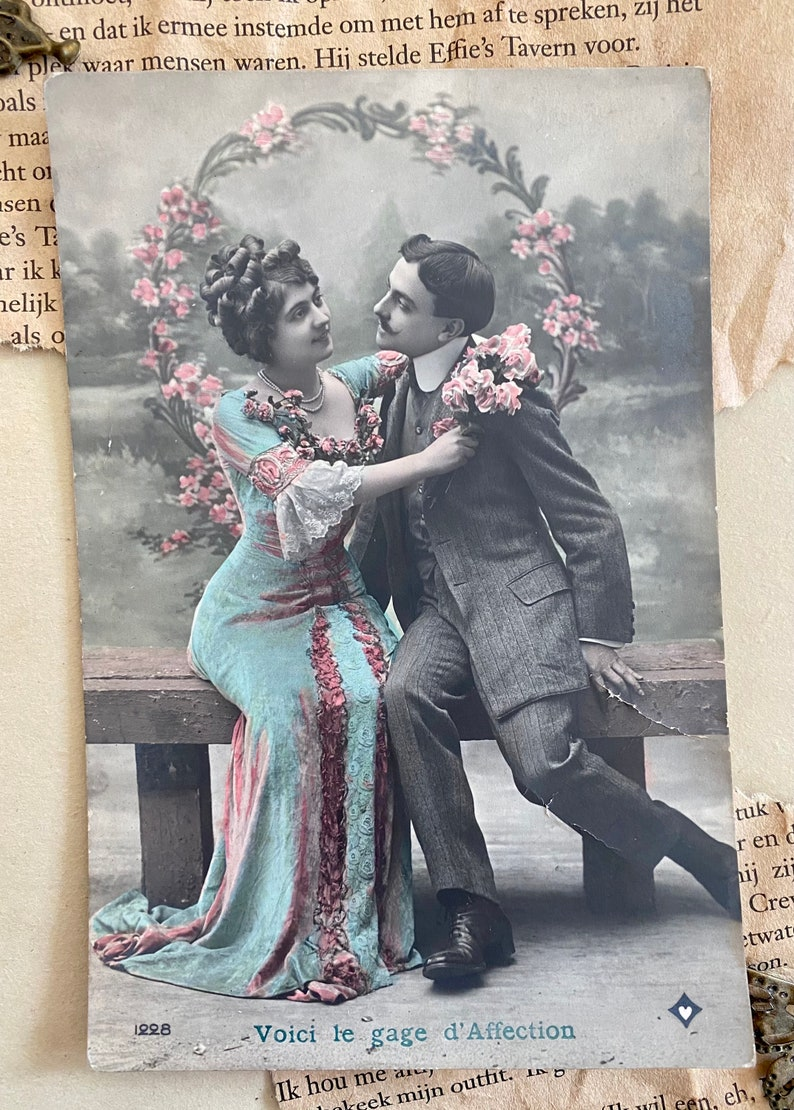 Genuine product Postcard French Lovers romantic theme French postcard 1920/'s