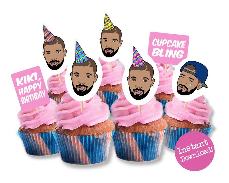 Drake Cupcake Toppers  Printable Cupcake Toppers  Drake in image 0