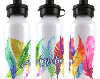 Rainbow Feathers Personalised Kids Water Bottle - Metal School Water Bottle - Gift for Girls