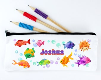 Personalised Kids Pencil Case - Friendly Fish - Kids Pencil Pouch - Back to School Named Pencil Case for Boys and Girls