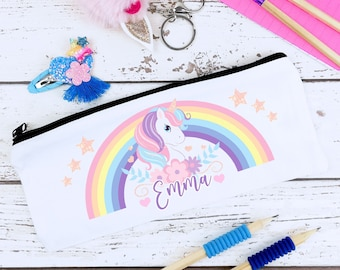 Unicorn Personalised Pencil Case for Girls - Kids Pencil Case - Back to School Named Pencil Case