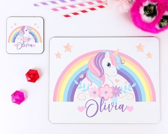 Personalised Unicorn Placemat and Coaster Set for kids - Customised Girls Tableware Set - Kids Christmas Gift