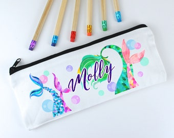 Mermaid Personalised Pencil Case for Girls - Kids Pencil Case - Back to School Named Pencil Case