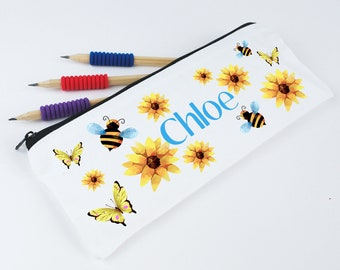 Personalised Pencil Case for Girls - Bees, Butterflies and Flowers Pencil Pouch - Back to School Named Pencil Case - Make-up Pouch