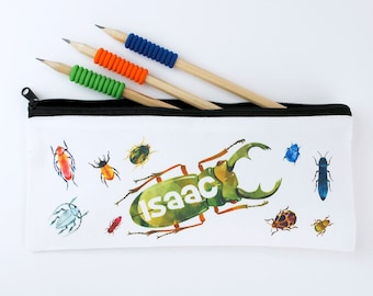Personalised Kids Pencil Case - Bugs and Beetles - Boys Pencil Case - Named Pencil Case - Back to School Gift