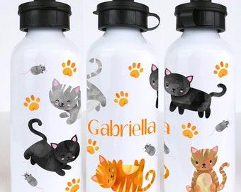 Cats Personalised Kids Water Bottle - Metal Water Bottle for School - Gift for Cat Lover - custom school water bottle