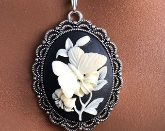 16 or 18 inch Butterfly and Flower Pendant Necklace for Girls and Women