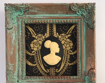 African American Cameo in Square Verdigris  Frame Wall Art Home Decor