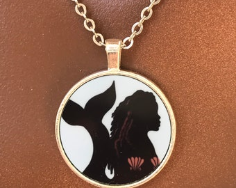 Black African American Mermaid Silhouette Necklace for Women 16 or 18 inches