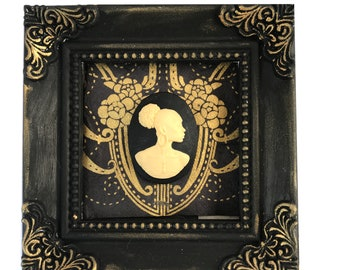 African American Cameo in Black on Black Frame Wall Art Home Decor