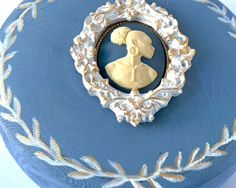 Blue Wedgewood Style Jewelry Art Art Box with African American Cameo