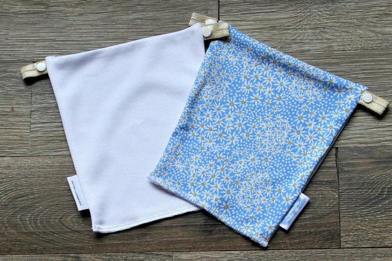 Reversible Neckline Insert Instant Camisole Modesty Panel Blue Ditsy Daisies  White Solid Cami Cover