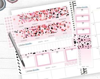 FEB-MF-1 Rose Gold Foiled February Hearts Monthly Planner Kit
