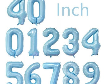 """40/"""" Pastel Blue Number 5 Giant Foil Balloon"""