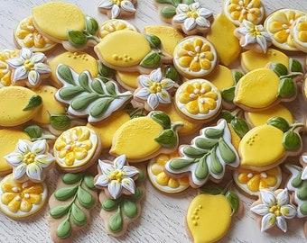 12pcs (1 dozen) Decorated Sugar Cookies Amalfi Coast Themed Cookies Tuscan Themed Cookies Lemon Themed Party Lemon Cookies Amalfi Lemon