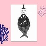 Merjungmann   linocut, linocut, printmaking, merman, graphic, print, print, art, poster, poster, picture, A4