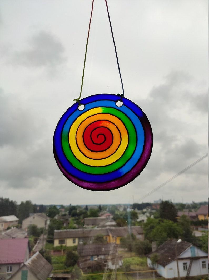 acrylic Rainbow spiral sun catcher FAUX Stained glass imitation window hangings Rainbow suncatcher gift for garden Lgbt gift