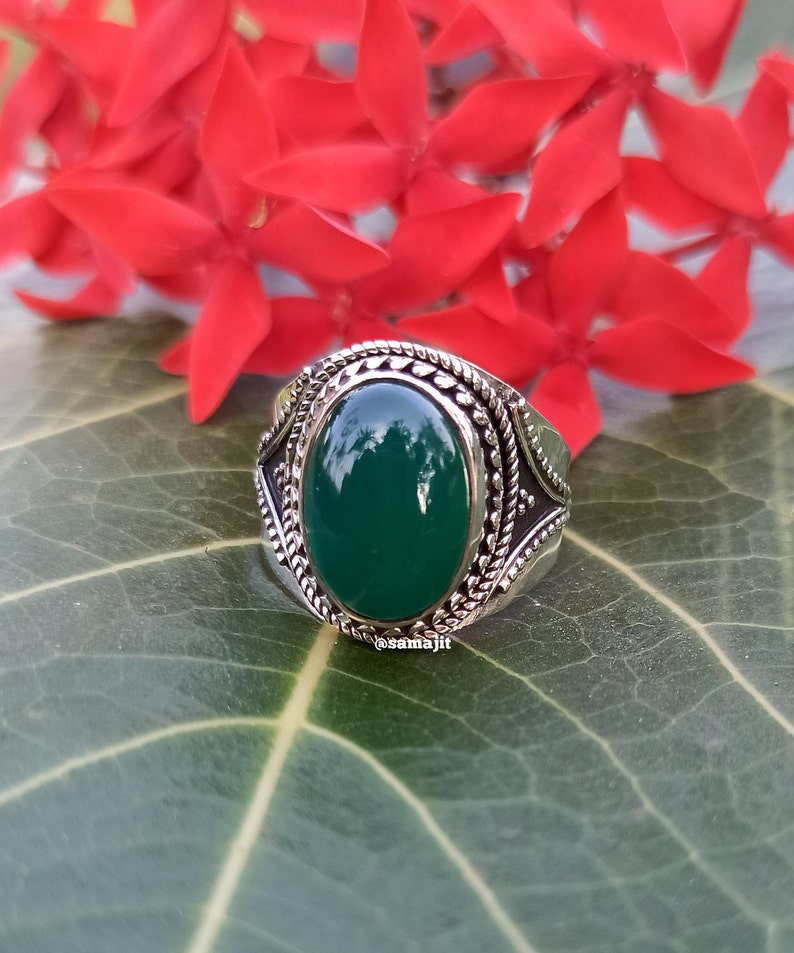 Mandala Ring Green Onyx Ring Gypsy Ring Oval Stone Ring Hippie Jewelry Ring Bohemian Ring Green Stone Ring 925 Sterling Silver Ring