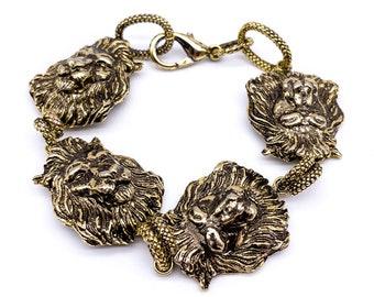 Lion Bracelet   Animal Bracelet   18K Gold Plated Brass   Gift for Her   for Women