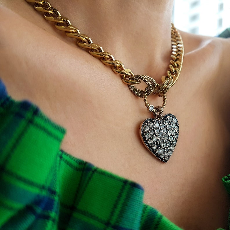 Gold Plated Bronze Necklace for Women Heart Zircon Necklace Elegant Jewelry for Mom Boho Choker Jewelry for Women Pendant